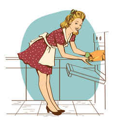 Young beautiful housewife in red dress cooking vector