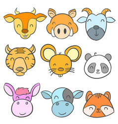 collection cute animal design doodle style vector image