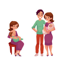 couple with infant woman with newborn baby vector image