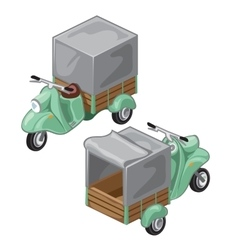 Green scooter with gray tent transport vector image vector image