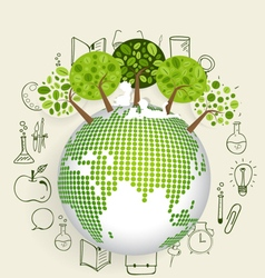 Modern globe with trees and application icon vector image