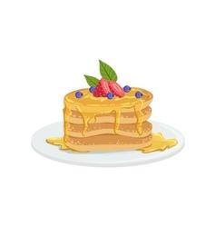 Pancakes European Cuisine Food Menu Item Detailed vector image