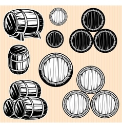 set monochromatic patterns with barrels for vector image vector image