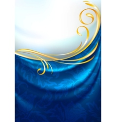 blue fabric curtain vector image