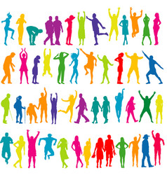 colorful silhouettes of women and men vector image vector image