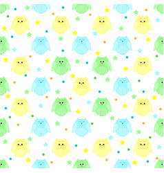 cute blue green and yellow owls with stars and vector image vector image