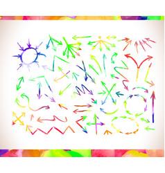 graphic signs colorful watercolor arrows vector image vector image