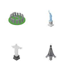 isometric architecture set of england new york vector image vector image