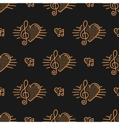 Music notes seamless pattern treble clef thin vector image vector image