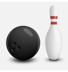 Realistic Ball and Pin of Bowling vector image