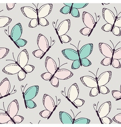 Seamless pattern background with butterflies vector image