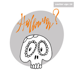skull sticker vector image vector image