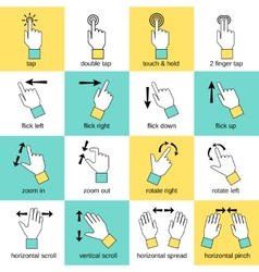 Touch interface gestures flat line vector image vector image