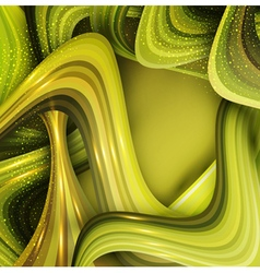abstract background with green waves vector image vector image