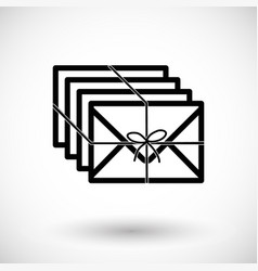 envelopes with ribbon flat icon vector image vector image
