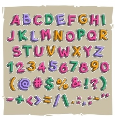 Funny Cartoon Letters and Numbers vector image