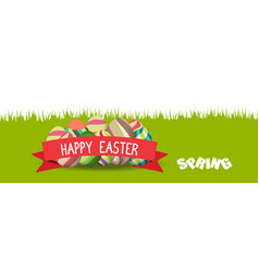 happy easter spring banner vector image
