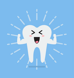 happy healthy and strong tooth vector image vector image