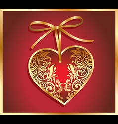 Red valentines background with heart and bow vector image vector image