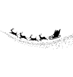 silhouette Santa Claus flying with deer vector image