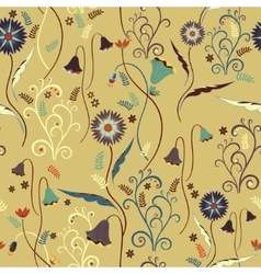 Wildflowers pattern with decorative elements vector image