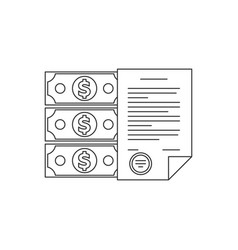 contract and money line icon vector image vector image