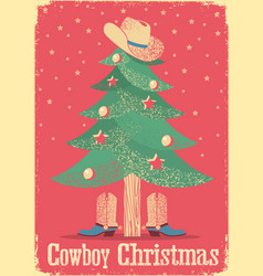 cowboy christmas card with tree and western vector image vector image