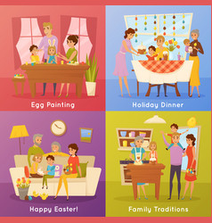 family easter concept 4 flat icons vector image vector image