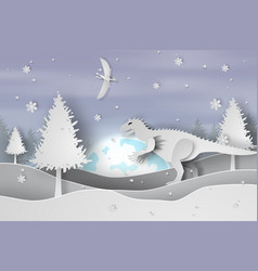 paper art of lanscape snow with dinosaur vector image vector image