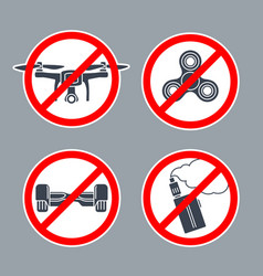 Prohibition sign no hoverboard inside of round vector