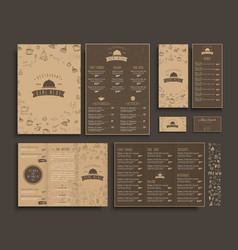 set of a4 menu folding brochures and flyers vector image vector image