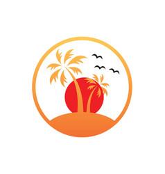 sunset palm tree beach tropic logo vector image