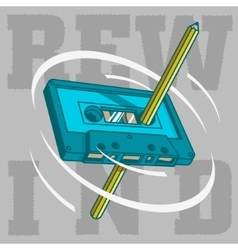 A pencil pass through the tape cassette and spin vector