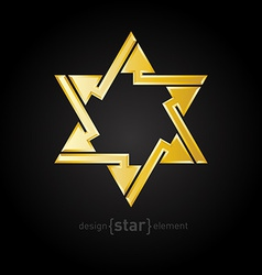 Abstract design element golden star with arrows on vector image