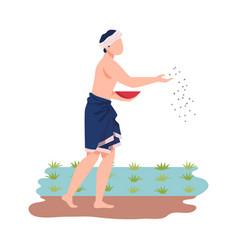 Asian male farmer casting seeds or grain in soil vector