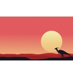 At afternoon parasaurolophus landscape silhouettes vector