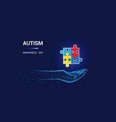 Autism awareness day puzzle awareness vector