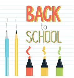 back to school sign on ruled notebook page vector image