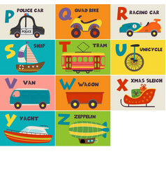 basic rgbalphabet card with transport p to z vector image