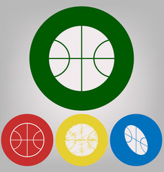 basketball ball sign 4 white vector image