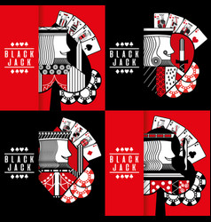 black jack poker casino gambling king chip vector image