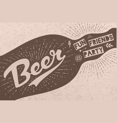 Bottle with hand drawn lettering text beer here vector
