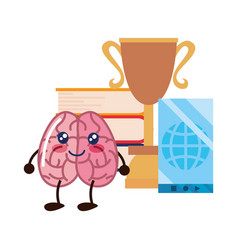 Brain cartoon education vector