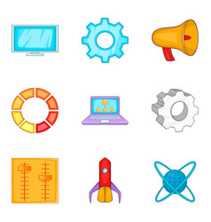 business website icons set cartoon style vector image