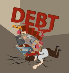 Businessman with debt vector