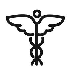 Caduceus medical symbol health care line style vector