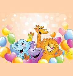 cartoon animals cheerful background vector image