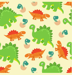 cartoon baby dinosaur seamless pattern vector image