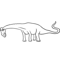 Cartoon diplodocus dinosaur for coloring book vector