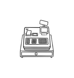 cash register hand drawn outline doodle icon vector image